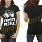 I Shoot People T-Shirt Funny Photographer Women's Black T Shirt