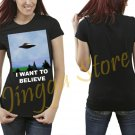 I Want To Believe X Files Poster Women's Black T Shirt