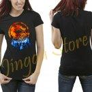 Mortal Combat Lin Kuei Logo Fire Women's Black T Shirt