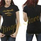 Sea Ray Boat Gold Logo Women's Black T Shirt