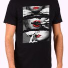 Blunt Roll Red Lips T-SHIRT Hot Girl Rolling Blunt Sexy Lips Men's Black T Shirt