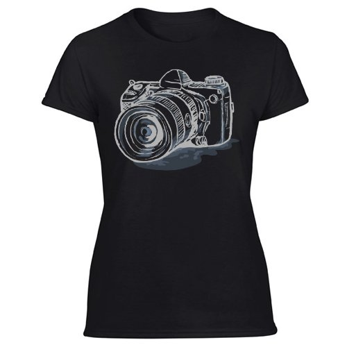 Camera Sketch Photography Fashion Style Urban Novelty Women's Black T Shirt