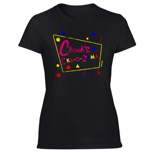 Chuck's Bike O'rama funny 80s movie adventure costumeWomen's Black T Shirt
