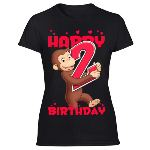 Curious George T Shirt Party Favor Birthday 2nd Gift Women's Black T Shirt
