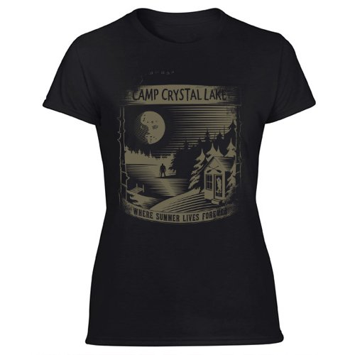Camp Crystal Lake funny 80s movie jason slasher horror film  Women's Black T Shirt