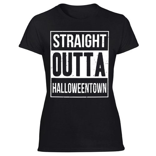 Straight Outta Halloweentown Women's Black T Shirt