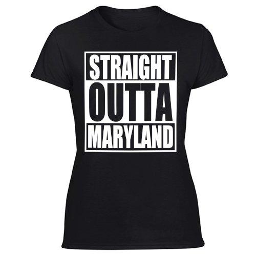 Straight Outta MD T-Shirt Maryland Flag Parody Women's Black T Shirt