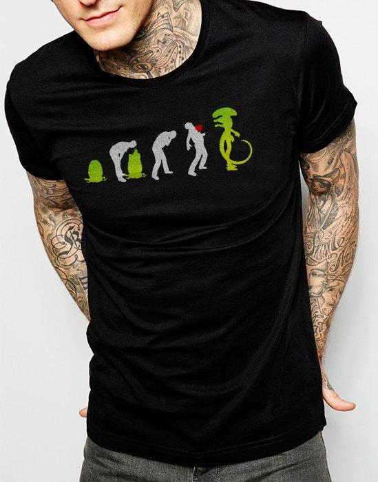 Evolution of Alien Funny Sci-Fi Men Black T-Shirt Tee