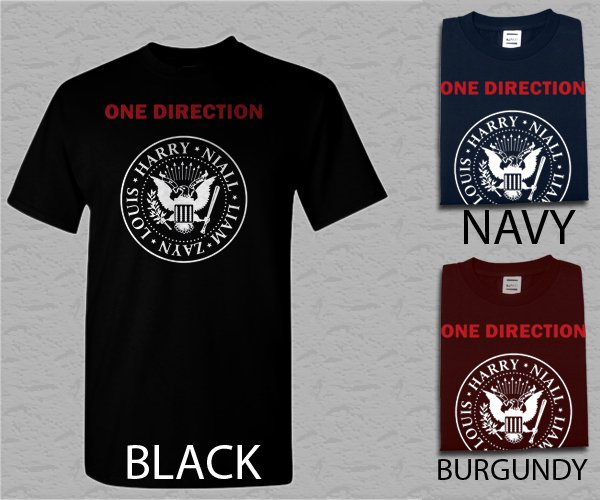 Men T Shirt 1D One Direction Ramones Adult T-Shirt S - XXL