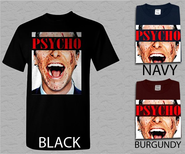 Men T Shirt American Psycho Christian Bale Adult T-Shirt S - XXL