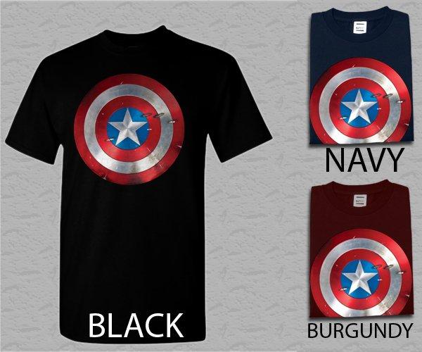 Men T Shirt Captain America Inspired Shield Superhero Retro Vintage Comic Book