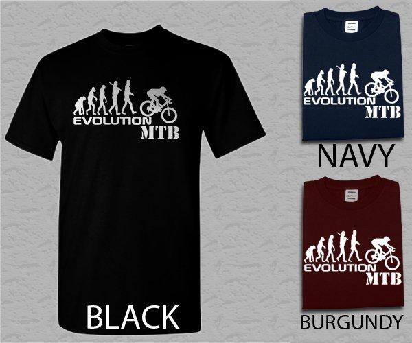 Men T Shirt Evolution of Mountain Biker - Downhill Single Track MTB Ape to Man