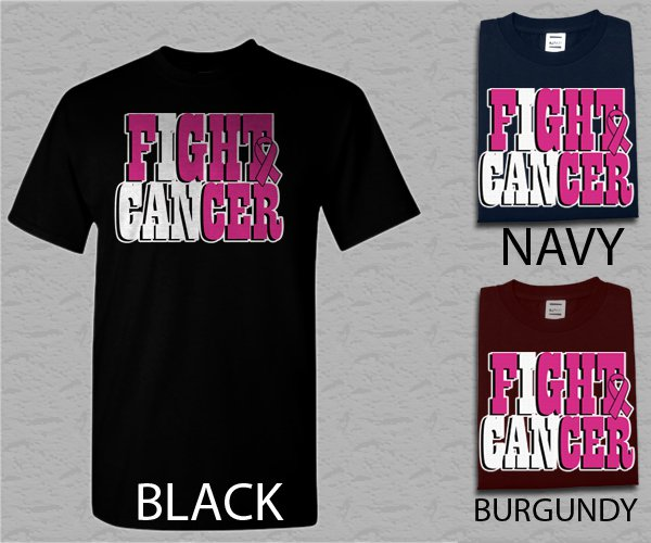 Men T Shirt I can FIGHT CANCER Breast Cancer Awareness Adult T-Shirt S - XXL