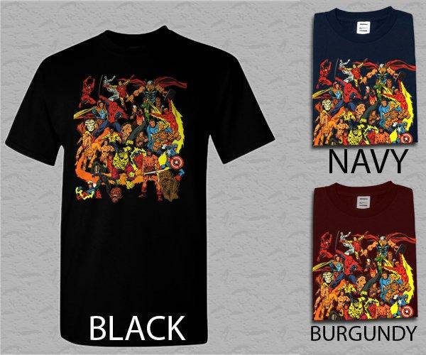 Men T Shirt Marvel Comics 70's Dr Srange Capt Marvel Man-Thing Iron Man Adult T-shirt