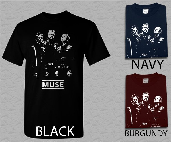 Men T Shirt Muse T-Matthew Bellamy Christopher Wolstenholme Dominic Howard Shirt