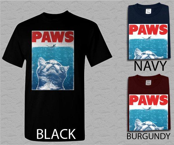 Men T Shirt PAWS PARODY Funny Hilarious kitten Adult T-Shirt S - XXL