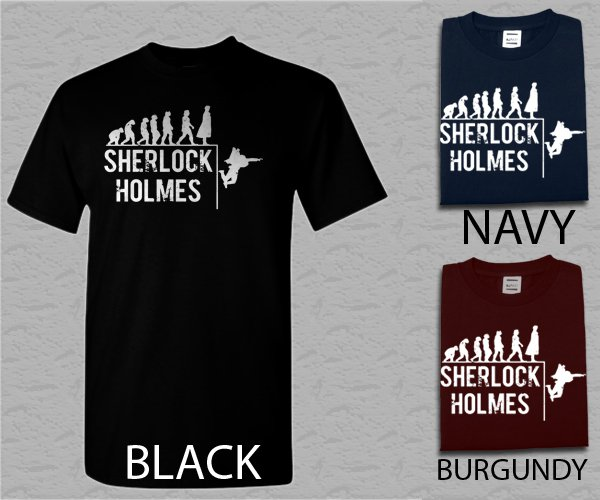 Men T Shirt Sherlock Evolution Holmes Baker Street Watson Elementary 221B Adult