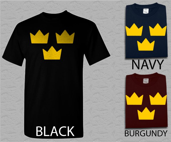 Men T Shirt TRE KRONOR Sweden Sverige hockey Adult T-Shirt S - XXL
