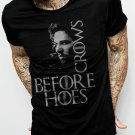 New Rare Crows Before Hoes Inspired Jon Snow Men Black T-Shirt Size S - XXL