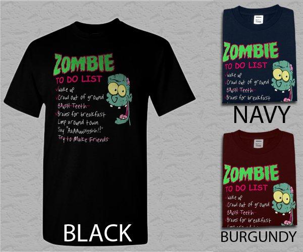Men T Shirt Zombie To Do List Adult T-Shirt S - XXL