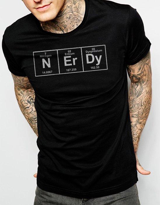 Nerdy Nerd Periodic Table Chemistry Men Black T-Shirt Size S,M,L,Xl,XXL