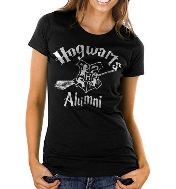 Hogwarts Alumni Harry Potter  Hogwarts House Women's Black T Shirt