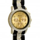 Black Rubber and Gold Crystal Fashion Watch