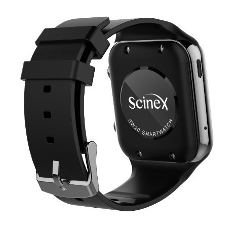 Scinex® SW20 16GB Bluetooth Smart Watch GSM Phone for iPhone & Android - US Warranty (Silver/Black)