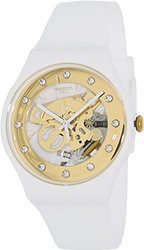 Swatch SUOZ148 sunray glam white rubber strap unisex watch NE