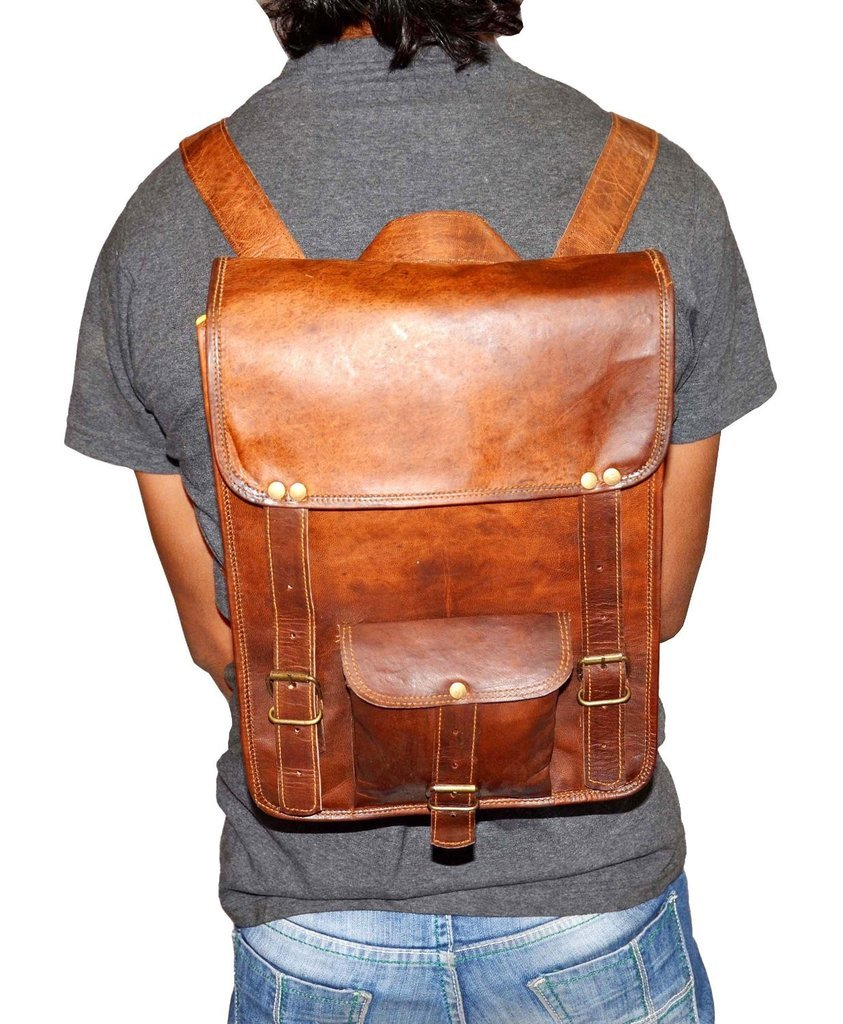 """Vintage Leather Rucksack Backpack with Large Pockets, 10"""" x 13"""" x 4"""""""