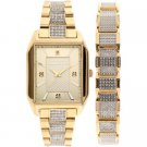 Elgin Men's Crystal Accented Watch and Matching Bracelet, Gold