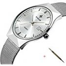 Tonnier Stainless steel Men's Watches Sliver Ultra Thin Dial Business Watches For Mens,Blue Face