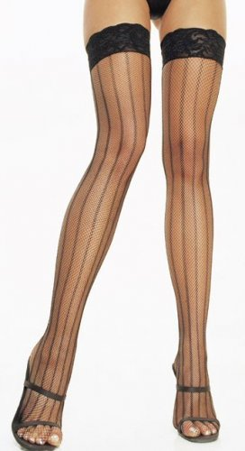 Vertical Striped Fishnet Thigh Highs with Lace Top