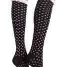 Acrylic Polka Dot Knee Socks with Eyelet Ruffle & Bow