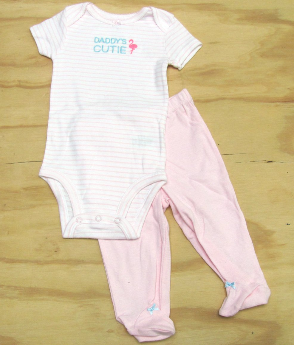 Carters Baby Girls 6 Mos Pink Stripe Bodysuit and Pants Set Daddys Cutie Carter's Girl's