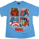 Marvel Boys L Comic Book Heroes Tee Shirt Blue Short Sleeve T-shirt