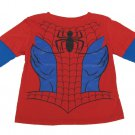 Marvel Comics Toddler Boys 2T Spider-man Tee Shirt Long Sleeve Boy's Spiderman T-shirt