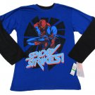 Marvel Comics Boys L 14-16 Amazing Spider-man Tee Shirt Blue Long Sleeve T-shirt Boy's Spiderman