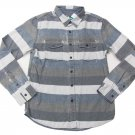 Modern Amusement Mens S Gray Stripe Distressed Button-down Shirt Long Sleeve Men's