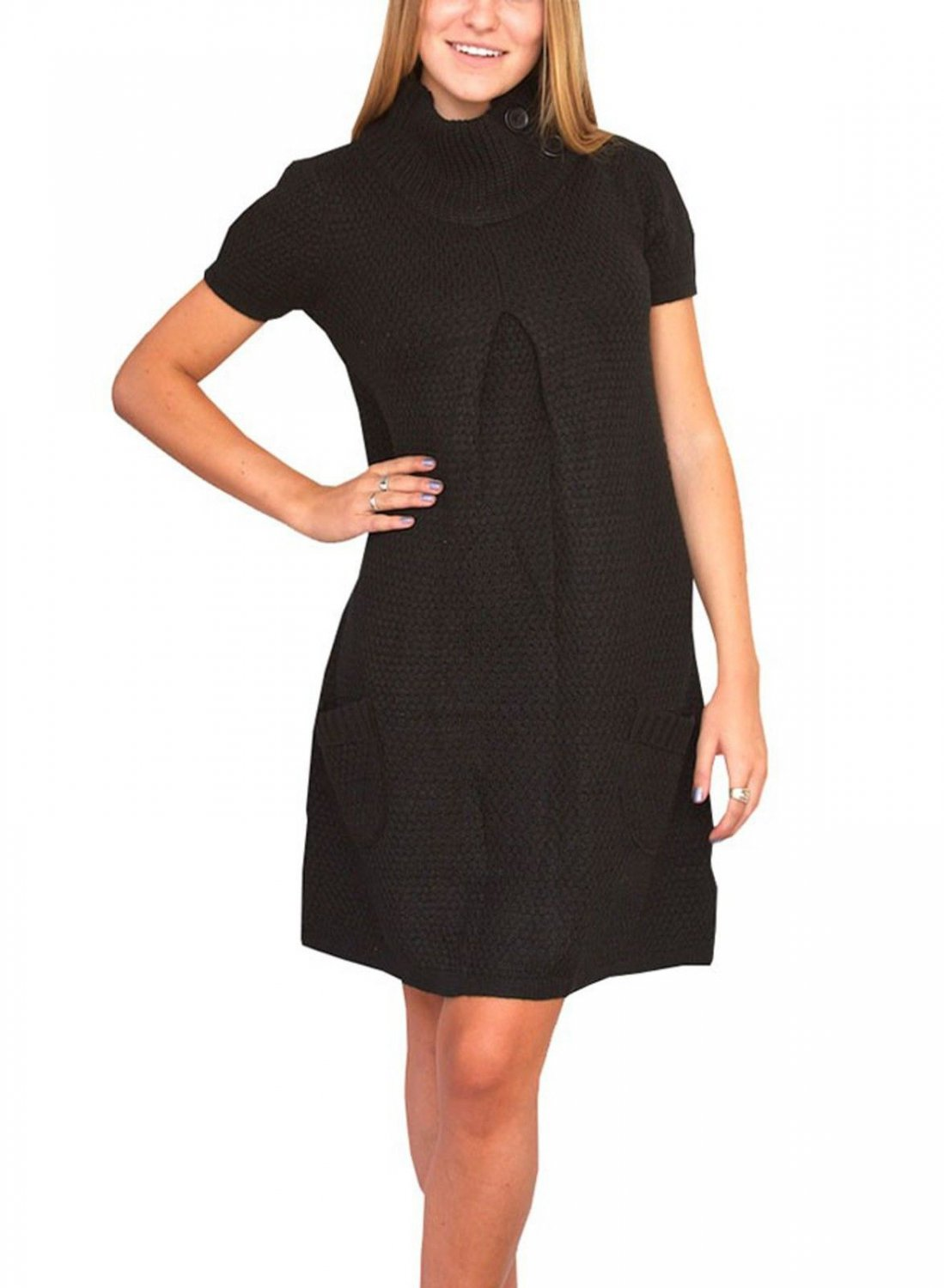 Love 2 Be Free Juniors S Black Sweater Dress with Funnel Neck and Pockets