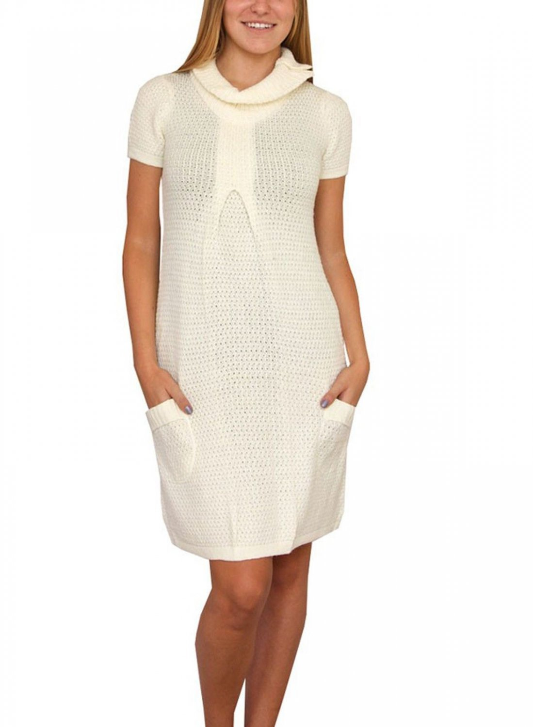 Love 2 Be Free Juniors M Ivory Sweater Dress with Funnel Neck and Pockets
