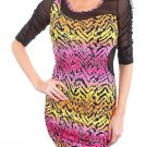 Lumi Juniors L Pink and Orange Zebra Print Mini Dress with Black Mesh Cut-outs