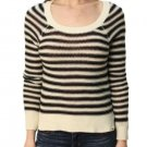 Roxy Juniors S Black and Cream Stripe Starboard Sweater High-Low