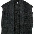Roxy Juniors L Dark Gray Open Front Sweater Wrap Sleeveless Cardigan