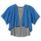 Mudd Girls size 10 Blue Floral Chiffon Kimono Wrap Shirt and Gray Tank Top Set
