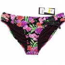 Material Girl Juniors M Floral Lace Up Bikini Swim Bottom Black Purple Green