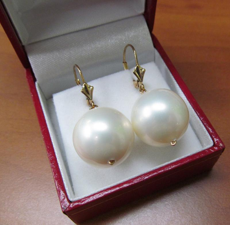 Masami 15 mm White Shell Pearl Earrings in 14K Gold Setting