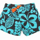 Carters Baby Boys 6 Mos Hibiscus Shorts Blue and Brown Floral Print