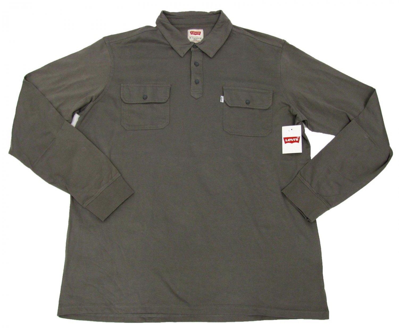 Levis Mens XXL Gray Long Sleeve Polo Shirt New