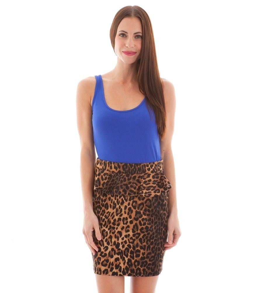 Matilda Juniors S Blue and Leopard Print Peplum Tank Dress with Lace Back New